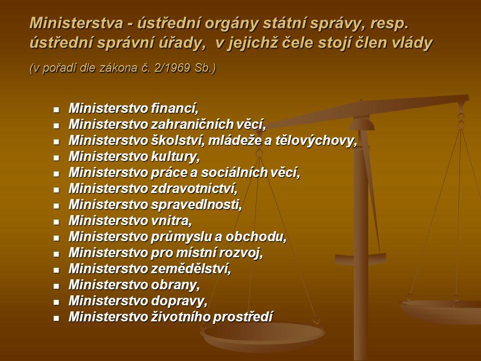 Ministerstva - ústřední orgány státní správy, resp. ústřední správní úřady, v jejichž čele stojí člen vlády (v pořadí dle zákona č. 2/1969 Sb.) Minist