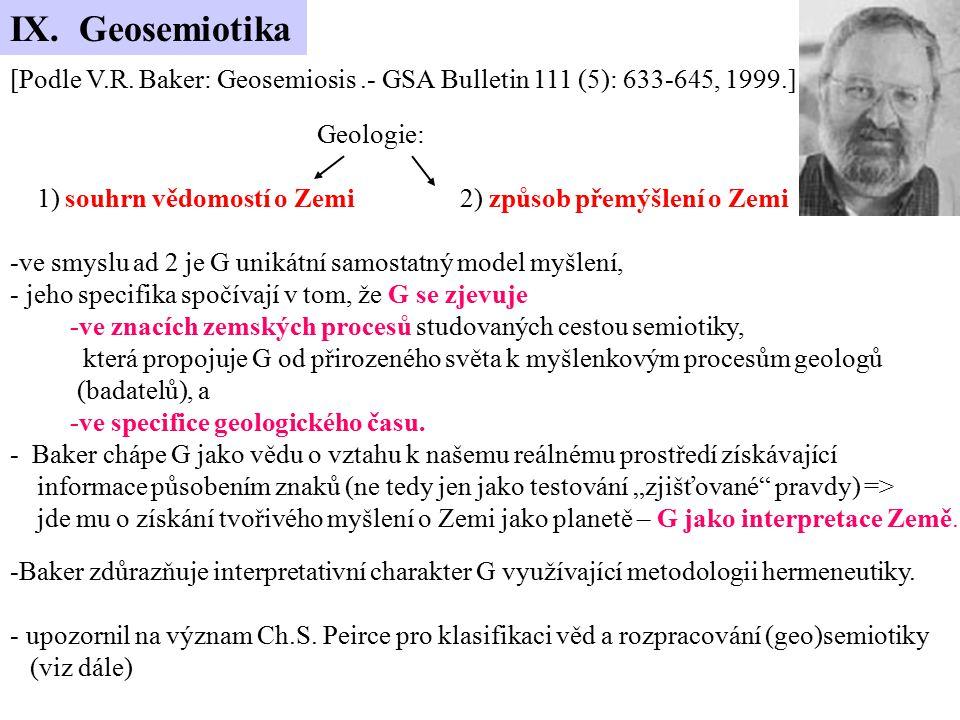 [Podle V.R. Baker: Geosemiosis.- GSA Bulletin 111 (5): 633-645, 1999.] Geologie: 1) souhrn vědomostí o Zemi 2) způsob přemýšlení o Zemi -ve smyslu ad