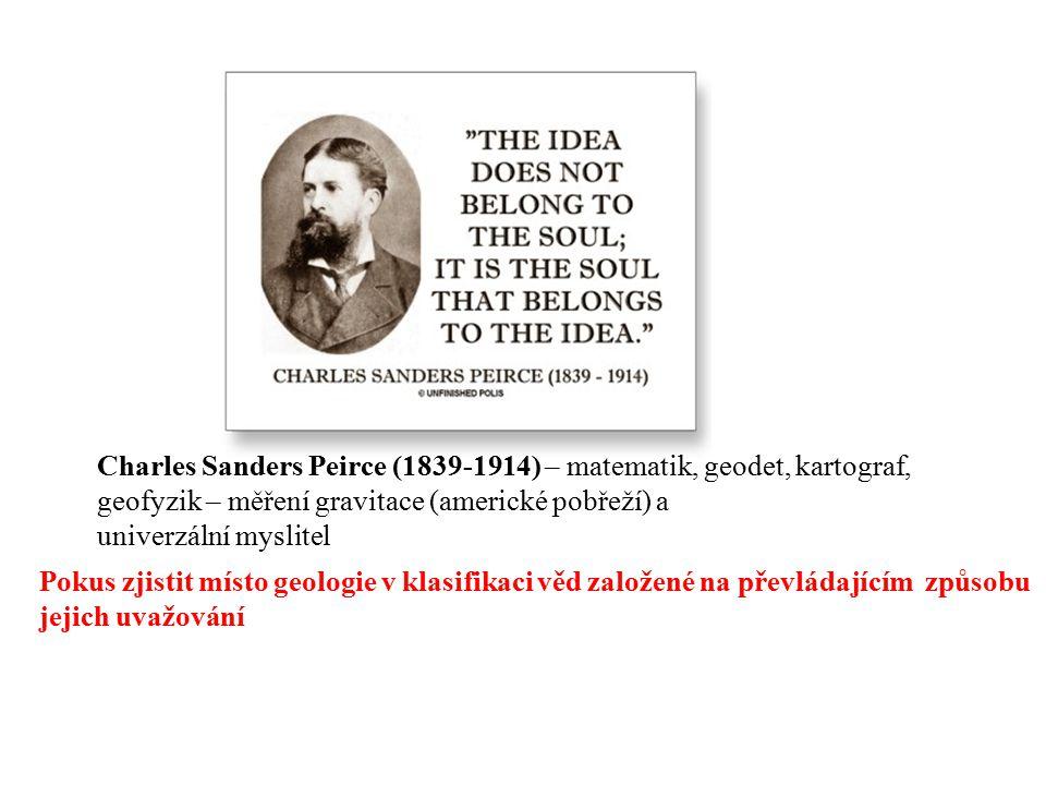 Charles Sanders Peirce (1839-1914) – matematik, geodet, kartograf, geofyzik – měření gravitace (americké pobřeží) a univerzální myslitel Pokus zjistit