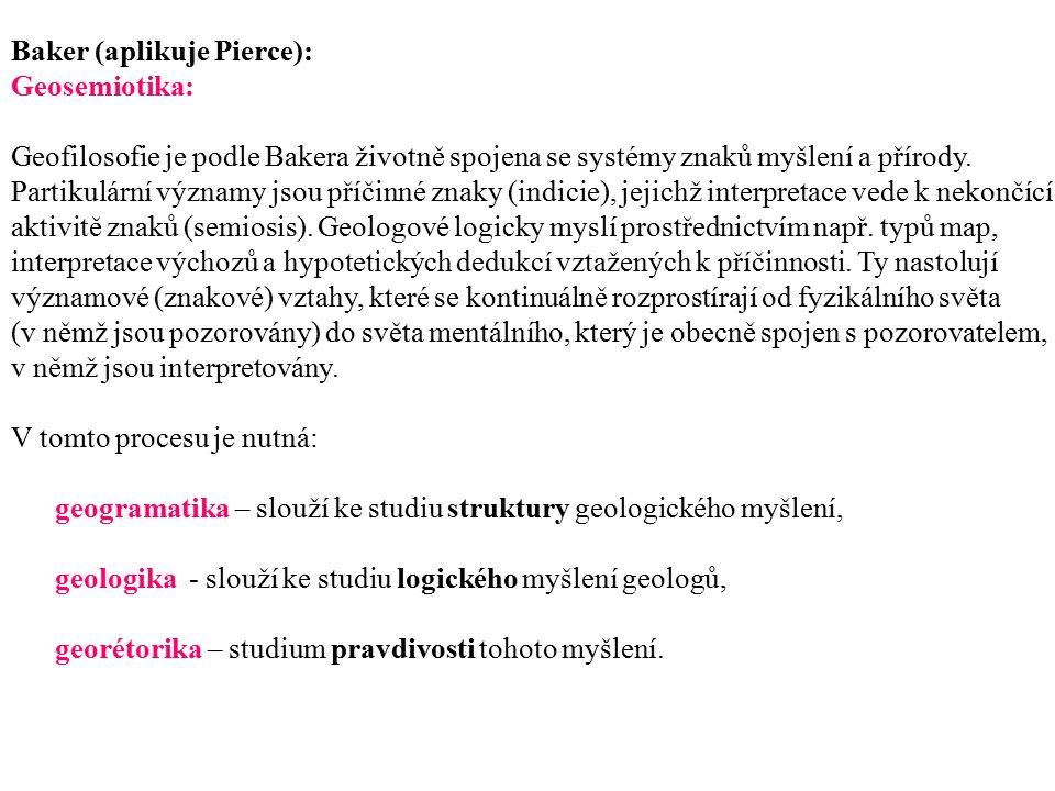 Baker (aplikuje Pierce): Geosemiotika: Geofilosofie je podle Bakera životně spojena se systémy znaků myšlení a přírody. Partikulární významy jsou příč