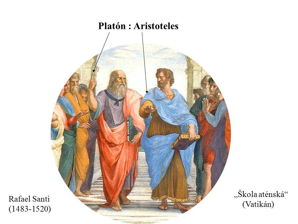 """Rafael Santi (1483-1520) """"Škola aténská"""" (Vatikán) Platón : Aristoteles"""