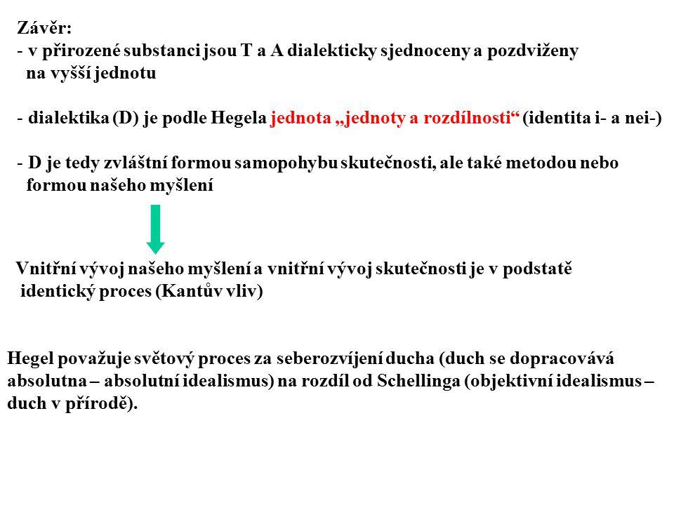 """Závěr: - v přirozené substanci jsou T a A dialekticky sjednoceny a pozdviženy na vyšší jednotu - dialektika (D) je podle Hegela jednota """"jednoty a roz"""
