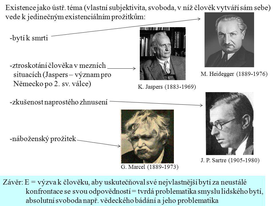 K. Jaspers (1883-1969) M. Heidegger (1889-1976) J. P. Sartre (1905-1980) Existence jako ústř. téma (vlastní subjektivita, svoboda, v níž člověk vytvář
