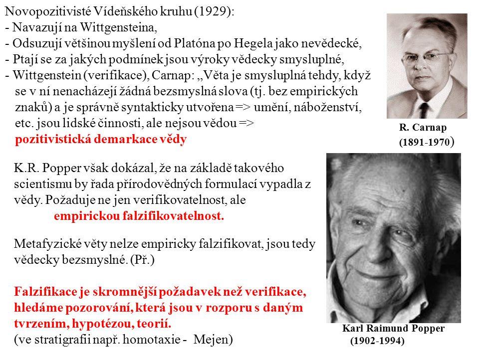 Karl Raimund Popper (1902-1994) R. Carnap (1891-1970 ) Novopozitivisté Vídeňského kruhu (1929): - Navazují na Wittgensteina, - Odsuzují většinou myšle