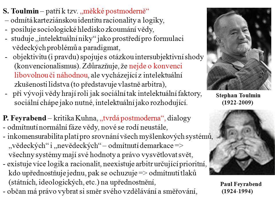 """Paul Feyrabend (1924-1994) Stephan Toulmin (1922-2009) S. Toulmin – patří k tzv. """"měkké postmoderně"""" – odmítá karteziánskou identitu racionality a log"""