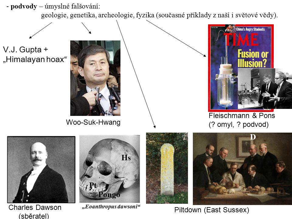 - podvody – úmyslné falšování: geologie, genetika, archeologie, fyzika (současné příklady z naší i světové vědy). Woo-Suk-Hwang Fleischmann & Pons (?