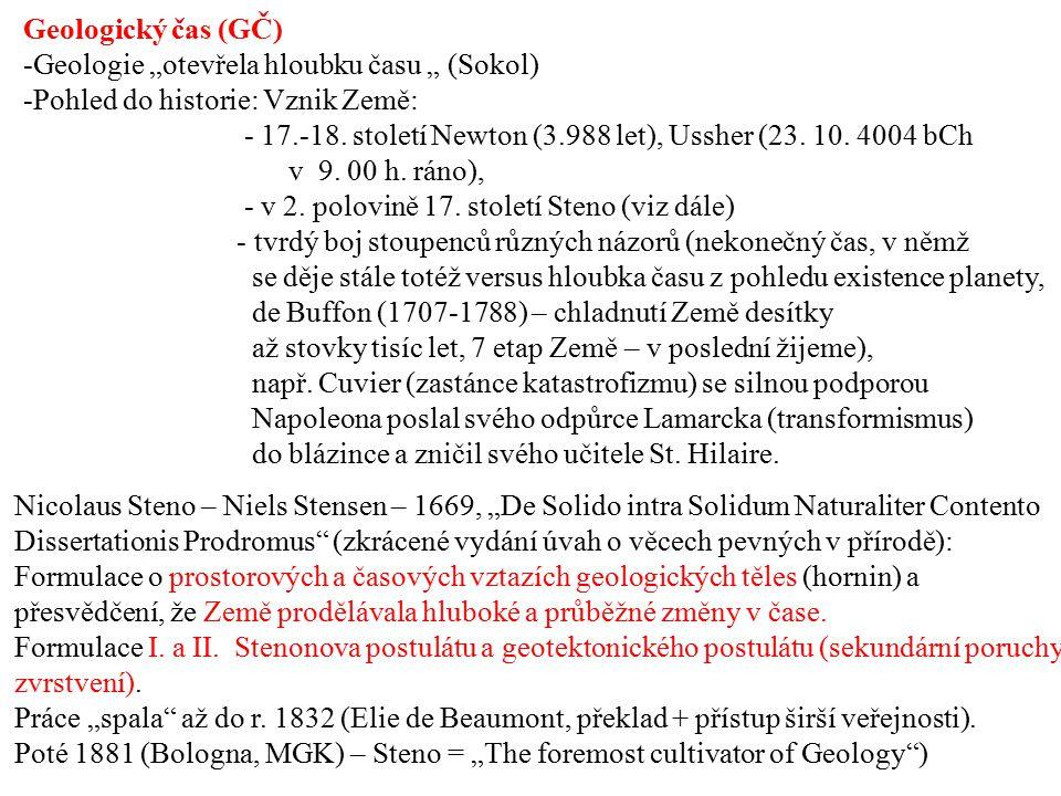 """Geologický čas (GČ) -Geologie """"otevřela hloubku času """" (Sokol) -Pohled do historie: Vznik Země: - 17.-18. století Newton (3.988 let), Ussher (23. 10."""