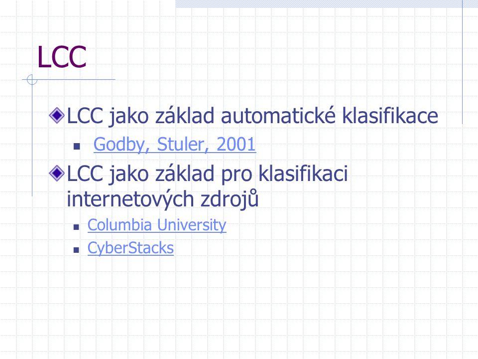 LCC LCC jako základ automatické klasifikace Godby, Stuler, 2001 LCC jako základ pro klasifikaci internetových zdrojů Columbia University CyberStacks