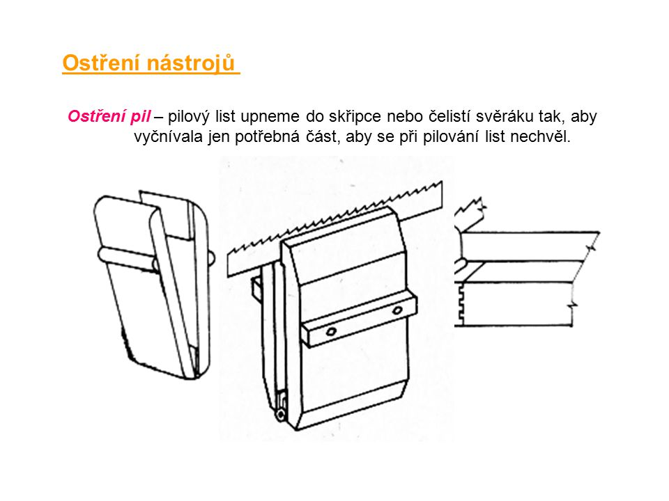 Ostření nástrojů Ostření pil – pilový list upneme do skřipce nebo čelistí svěráku tak, aby vyčnívala jen potřebná část, aby se při pilování list nechvěl.