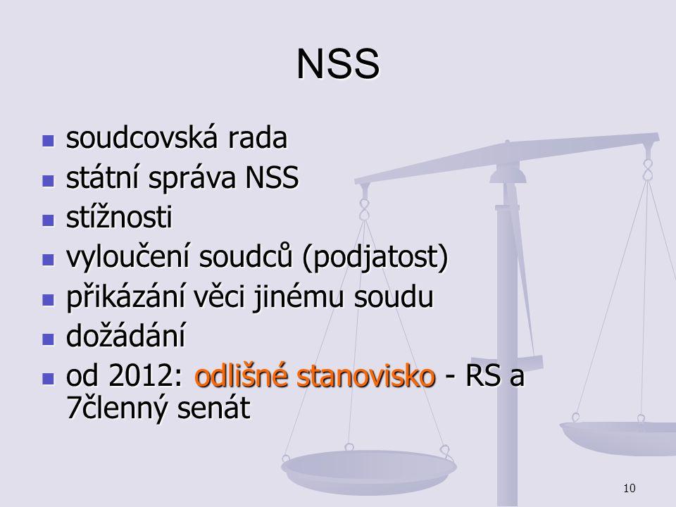 10 NSS soudcovská rada soudcovská rada státní správa NSS státní správa NSS stížnosti stížnosti vyloučení soudců (podjatost) vyloučení soudců (podjatos
