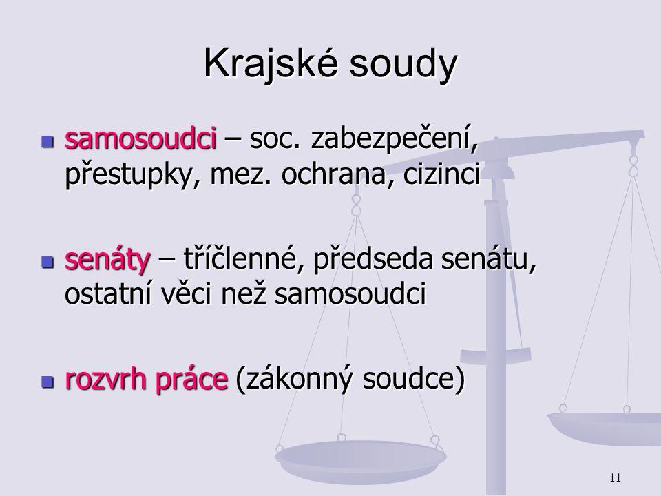 11 Krajské soudy samosoudci – soc. zabezpečení, přestupky, mez. ochrana, cizinci samosoudci – soc. zabezpečení, přestupky, mez. ochrana, cizinci senát