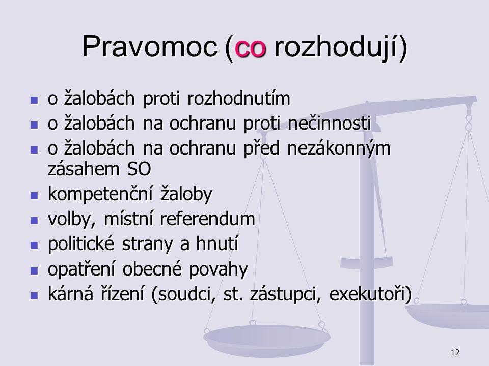 12 Pravomoc (co rozhodují) o žalobách proti rozhodnutím o žalobách proti rozhodnutím o žalobách na ochranu proti nečinnosti o žalobách na ochranu prot