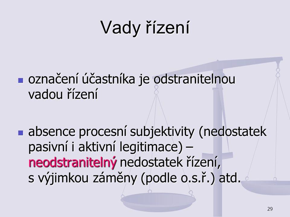 29 Vady řízení označení účastníka je odstranitelnou vadou řízení označení účastníka je odstranitelnou vadou řízení absence procesní subjektivity (nedo