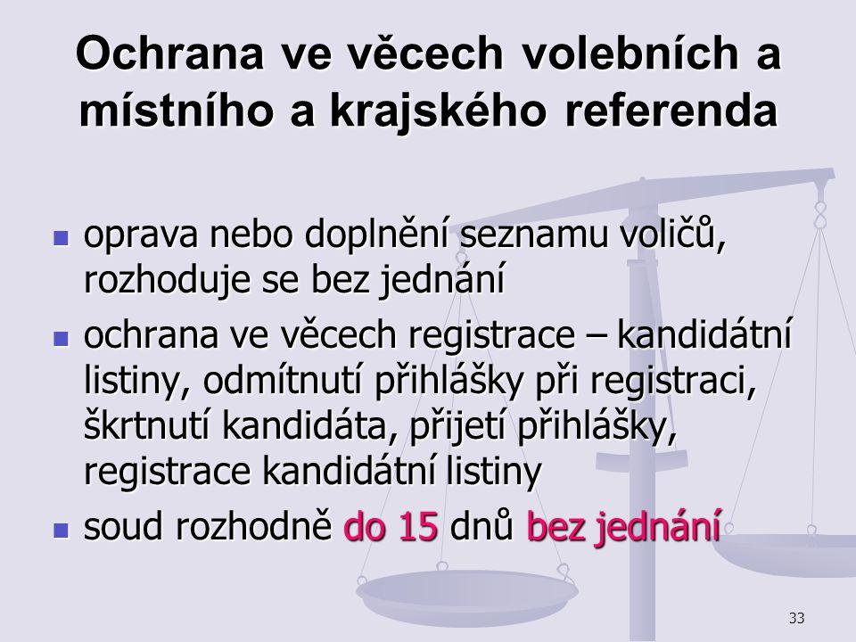 33 Ochrana ve věcech volebních a místního a krajského referenda oprava nebo doplnění seznamu voličů, rozhoduje se bez jednání oprava nebo doplnění sez