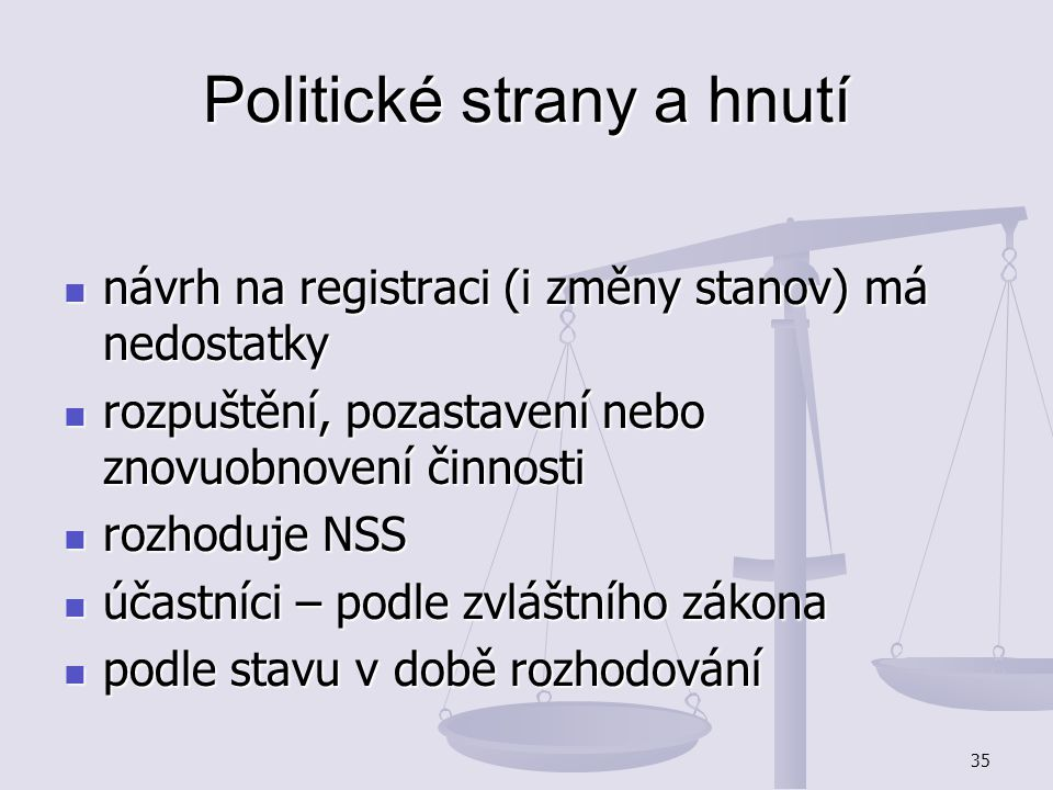 35 Politické strany a hnutí návrh na registraci (i změny stanov) má nedostatky návrh na registraci (i změny stanov) má nedostatky rozpuštění, pozastav