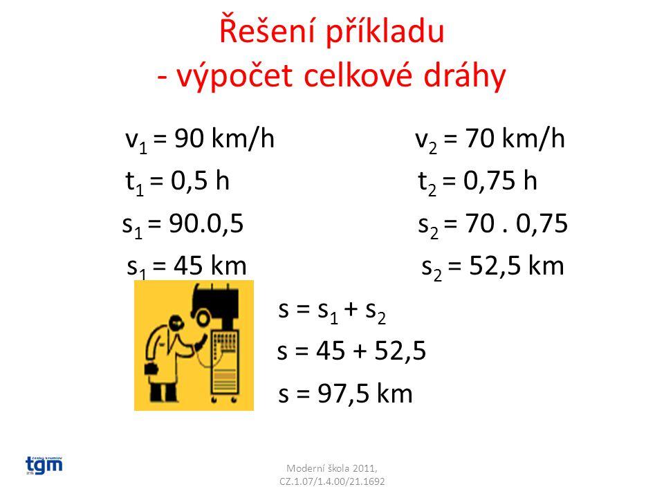Řešení příkladu - výpočet celkové dráhy v 1 = 90 km/h v 2 = 70 km/h t 1 = 0,5 h t 2 = 0,75 h s 1 = 90.0,5 s 2 = 70. 0,75 s 1 = 45 km s 2 = 52,5 km s =