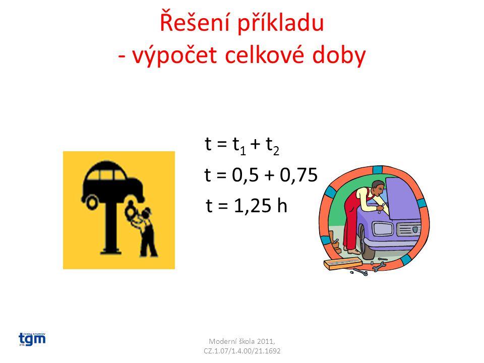 Řešení příkladu - výpočet celkové doby t = t 1 + t 2 t = 0,5 + 0,75 t = 1,25 h Moderní škola 2011, CZ.1.07/1.4.00/21.1692