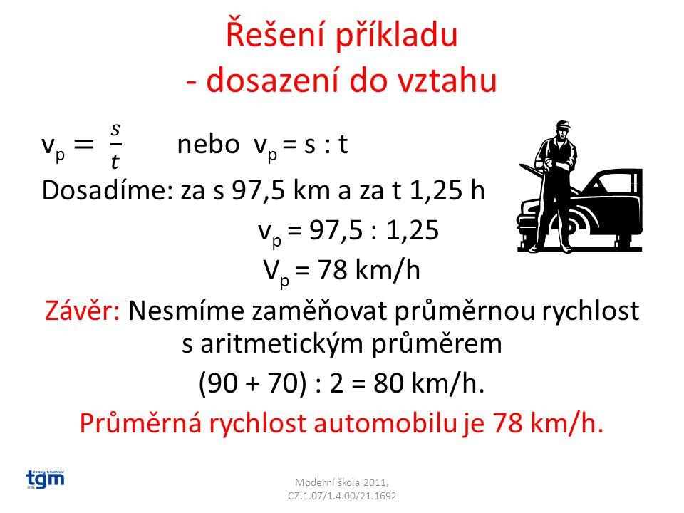 Řešení příkladu - dosazení do vztahu Moderní škola 2011, CZ.1.07/1.4.00/21.1692