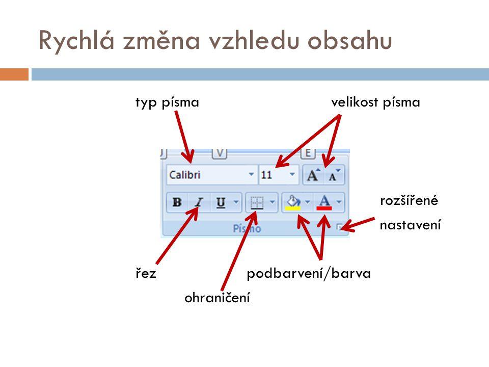Rychlá změna vzhledu obsahu typ písmavelikost písma rozšířené nastavení řez podbarvení/barva ohraničení