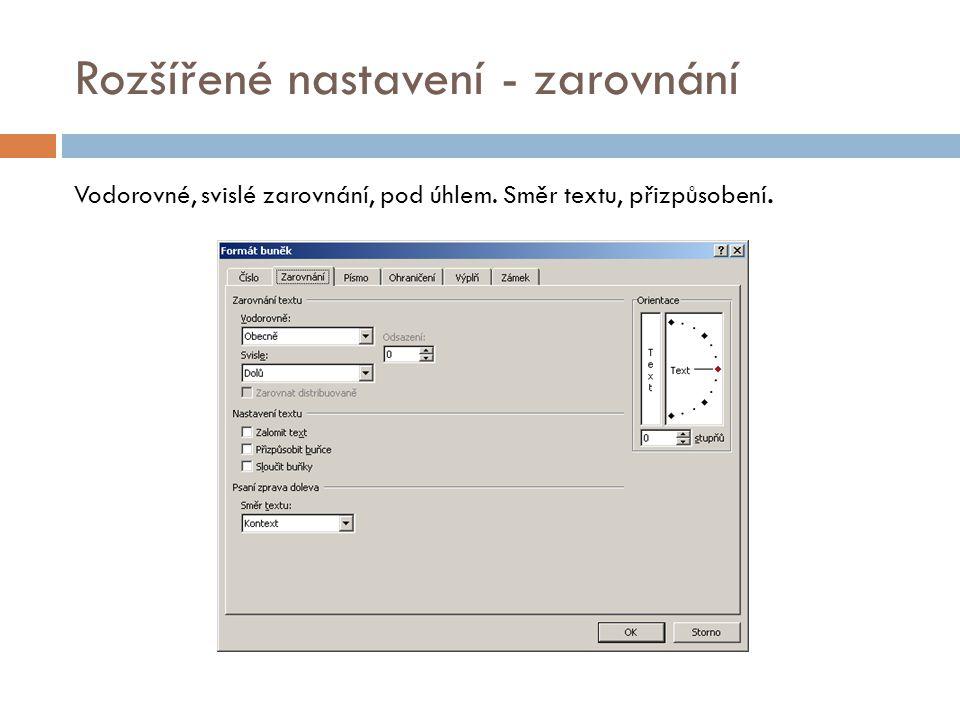 Rozšířené nastavení - písmo Velikost, typ, řez, barva, podtržení písma. Indexy a přeškrtnutí.