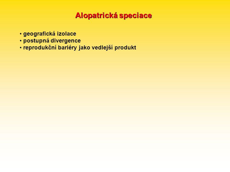 Alopatrická speciace geografická izolace postupná divergence reprodukční bariéry jako vedlejší produkt