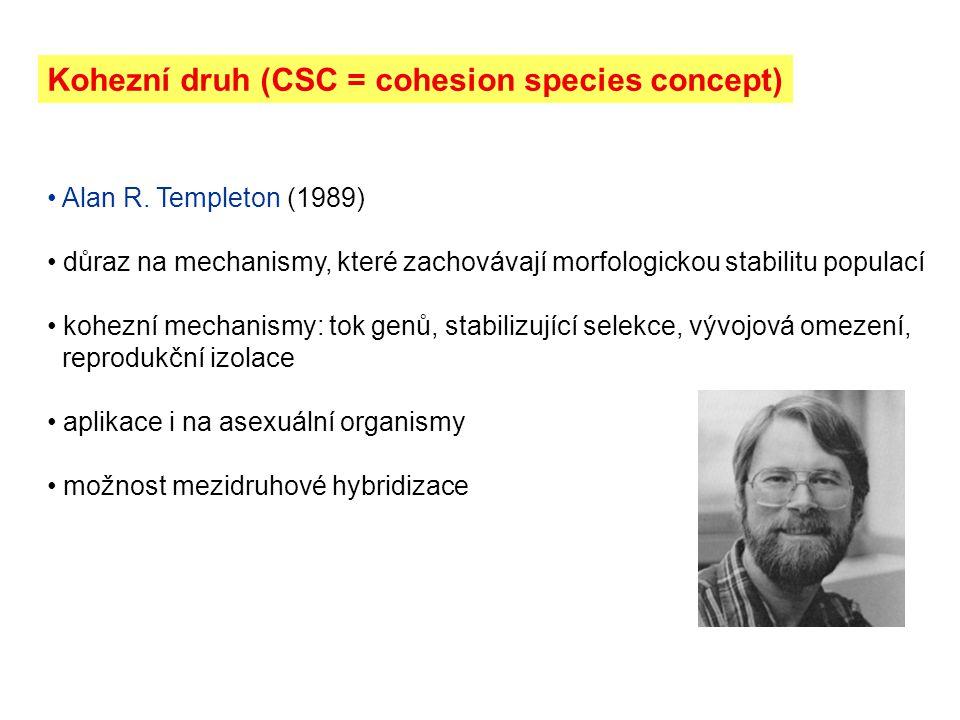 Kohezní druh (CSC = cohesion species concept) Alan R. Templeton (1989) důraz na mechanismy, které zachovávají morfologickou stabilitu populací kohezní