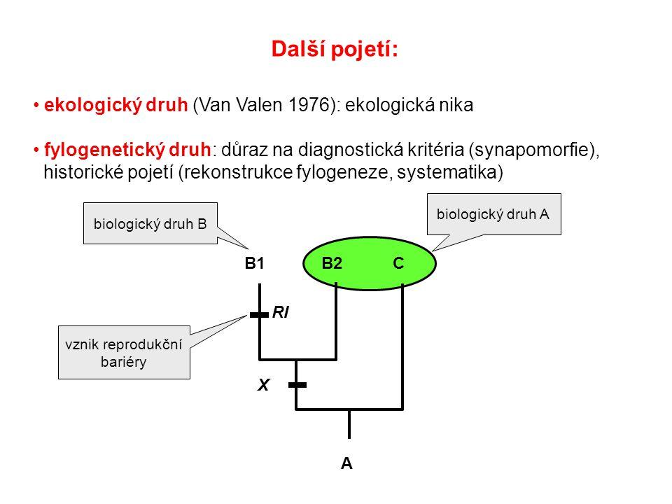 Další pojetí: ekologický druh (Van Valen 1976): ekologická nika fylogenetický druh: důraz na diagnostická kritéria (synapomorfie), historické pojetí (