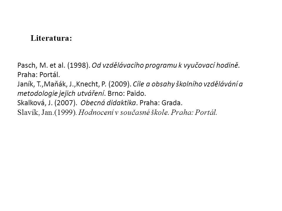 Pasch, M. et al. (1998). Od vzdělávacího programu k vyučovací hodině. Praha: Portál. Janík, T.,Maňák, J.,Knecht, P. (2009). Cíle a obsahy školního vzd