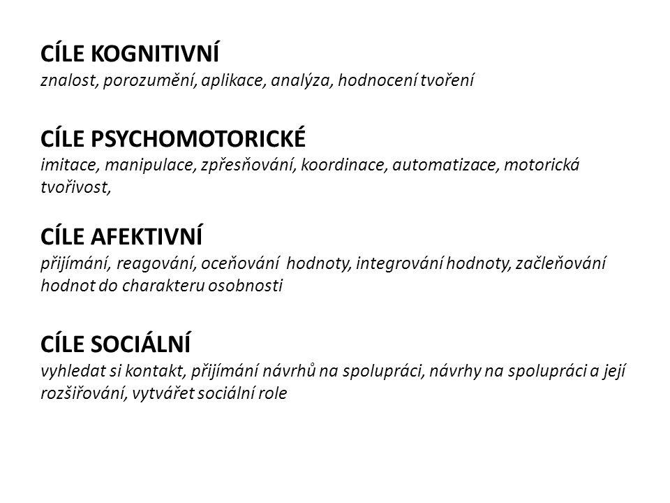CÍLE KOGNITIVNÍ znalost, porozumění, aplikace, analýza, hodnocení tvoření CÍLE PSYCHOMOTORICKÉ imitace, manipulace, zpřesňování, koordinace, automatiz