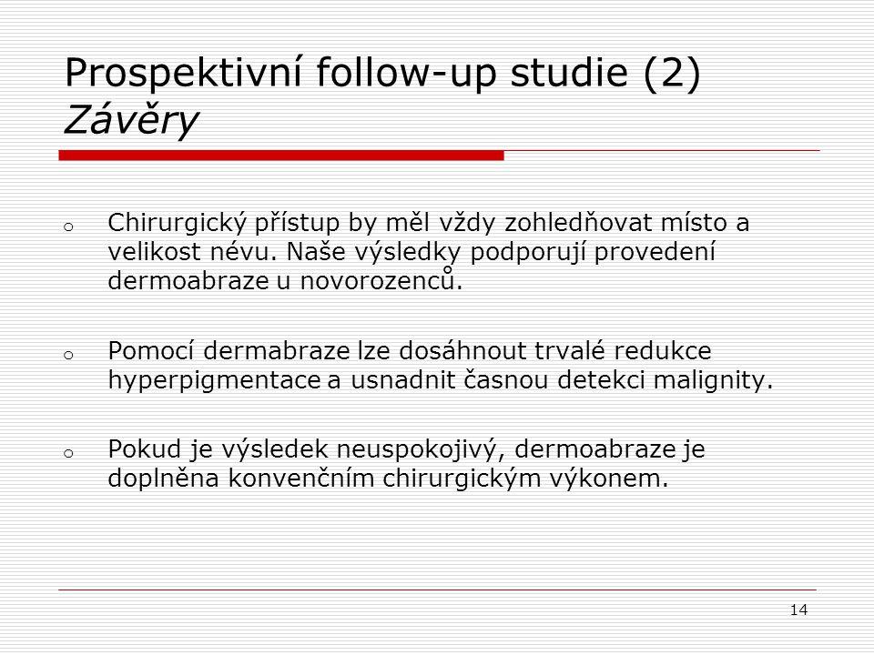 Prospektivní follow-up studie (2) Závěry o Chirurgický přístup by měl vždy zohledňovat místo a velikost névu. Naše výsledky podporují provedení dermoa