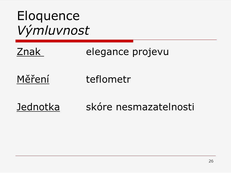 Eloquence Výmluvnost Znak elegance projevu Měřeníteflometr Jednotkaskóre nesmazatelnosti 26
