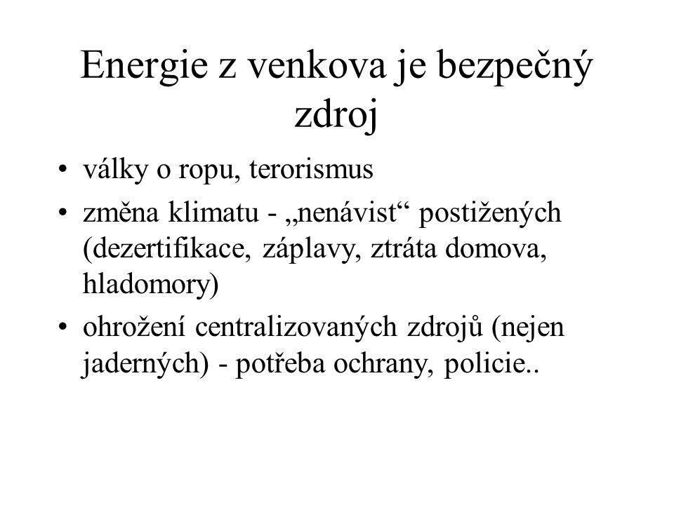 """Energie z venkova je bezpečný zdroj války o ropu, terorismus změna klimatu - """"nenávist postižených (dezertifikace, záplavy, ztráta domova, hladomory) ohrožení centralizovaných zdrojů (nejen jaderných) - potřeba ochrany, policie.."""