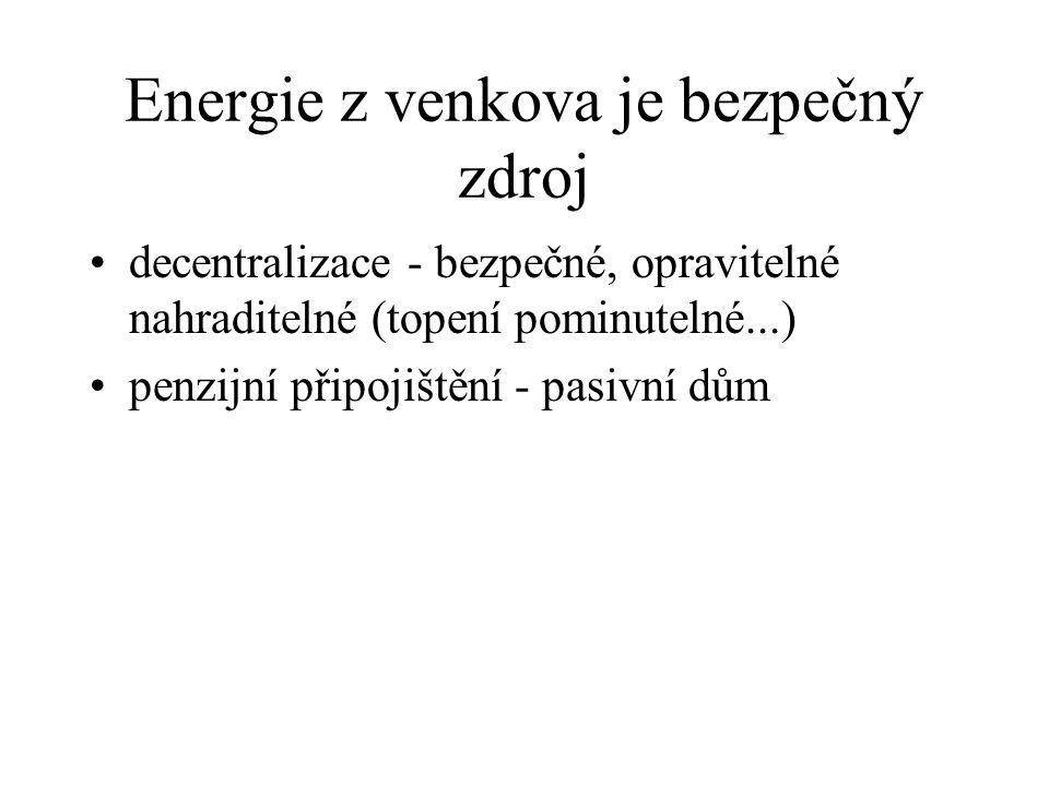 Energie z venkova je bezpečný zdroj decentralizace - bezpečné, opravitelné nahraditelné (topení pominutelné...) penzijní připojištění - pasivní dům