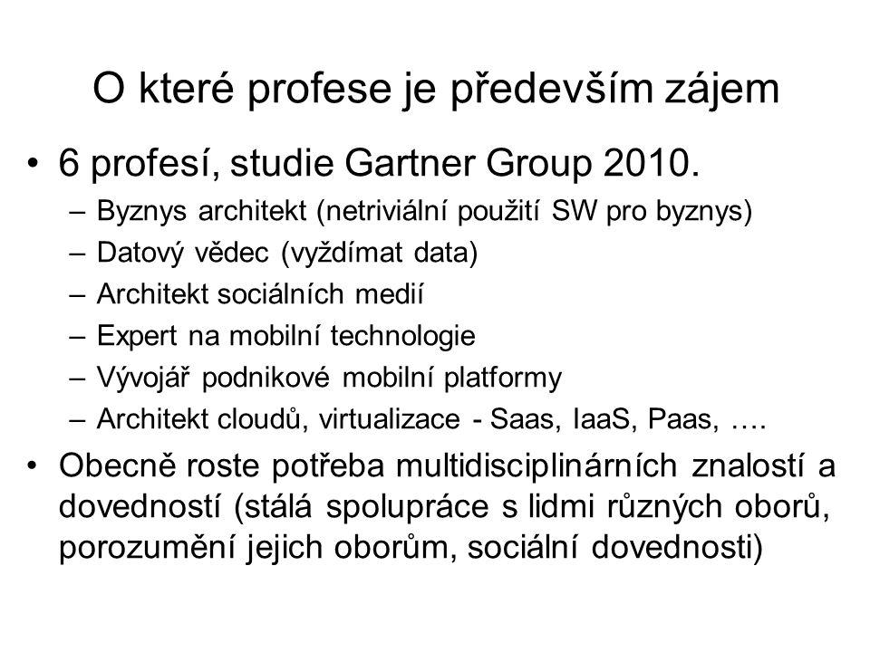 O které profese je především zájem 6 profesí, studie Gartner Group 2010. –Byznys architekt (netriviální použití SW pro byznys) –Datový vědec (vyždímat