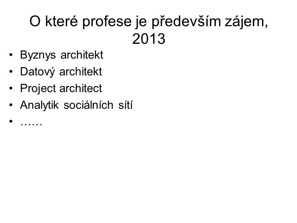 O které profese je především zájem, 2013 Byznys architekt Datový architekt Project architect Analytik sociálních sítí ……