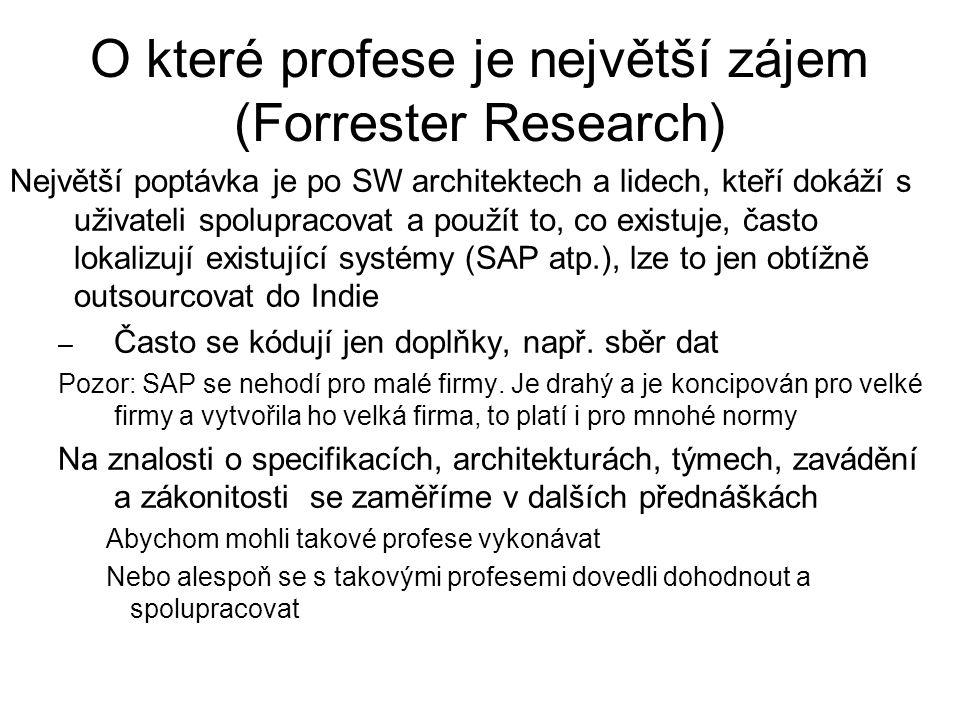 O které profese je největší zájem (Forrester Research) Největší poptávka je po SW architektech a lidech, kteří dokáží s uživateli spolupracovat a použ