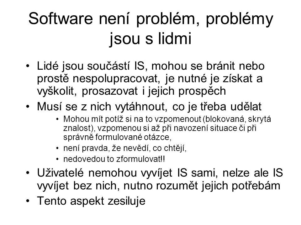 Software není problém, problémy jsou s lidmi Lidé jsou součástí IS, mohou se bránit nebo prostě nespolupracovat, je nutné je získat a vyškolit, prosaz