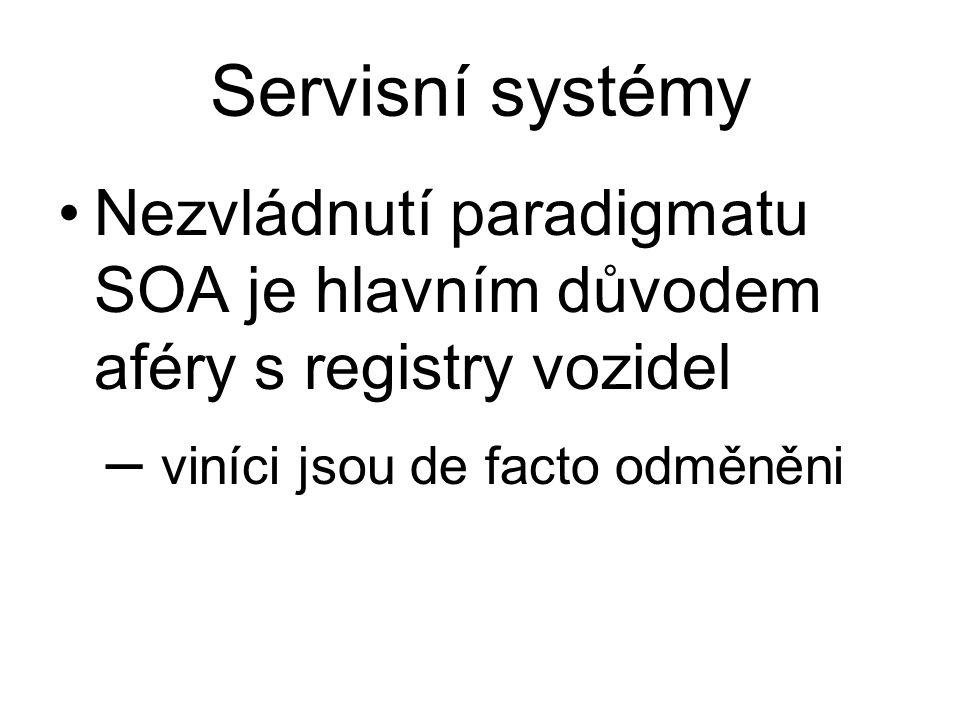 Servisní systémy Nezvládnutí paradigmatu SOA je hlavním důvodem aféry s registry vozidel – viníci jsou de facto odměněni