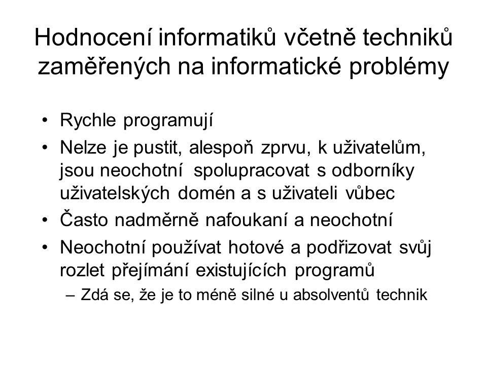 Hodnocení informatiků včetně techniků zaměřených na informatické problémy Rychle programují Nelze je pustit, alespoň zprvu, k uživatelům, jsou neochot