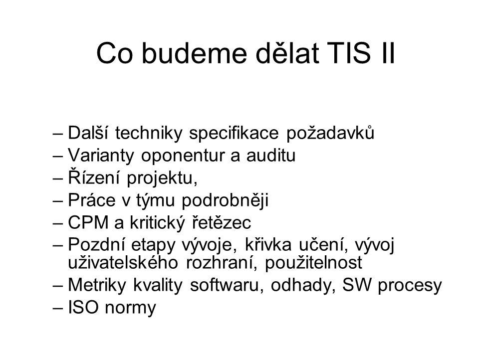 Co budeme dělat TIS II –Další techniky specifikace požadavků –Varianty oponentur a auditu –Řízení projektu, –Práce v týmu podrobněji –CPM a kritický ř