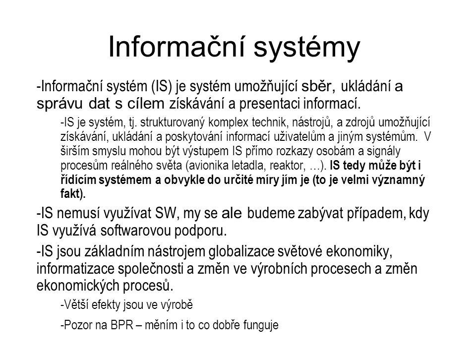 Informační systémy -Informační systém (IS) je systém umožňující sběr, ukládání a správu dat s cílem získávání a presentaci informací. -IS je systém, t