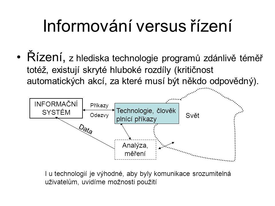 Informování versus řízení Řízení, z hlediska technologie programů zdánlivě téměř totéž, existují skryté hluboké rozdíly (kritičnost automatických akcí