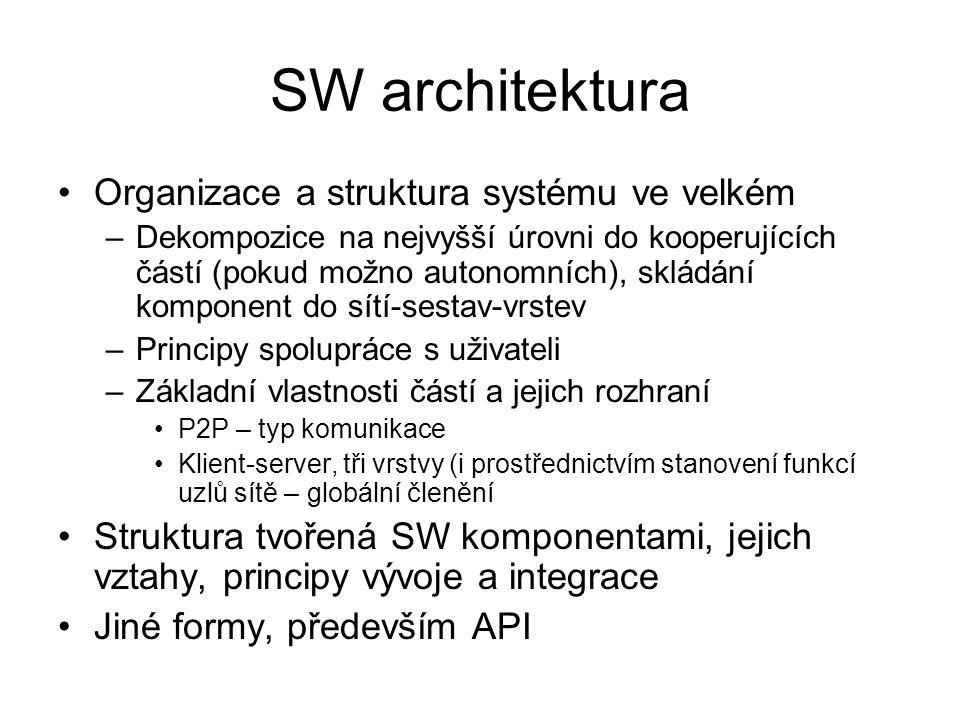 SW architektura Organizace a struktura systému ve velkém –Dekompozice na nejvyšší úrovni do kooperujících částí (pokud možno autonomních), skládání ko