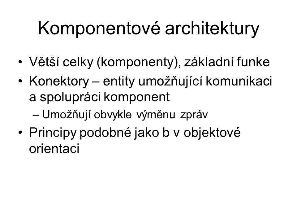 Komponentové architektury Větší celky (komponenty), základní funke Konektory – entity umožňující komunikaci a spolupráci komponent –Umožňují obvykle v