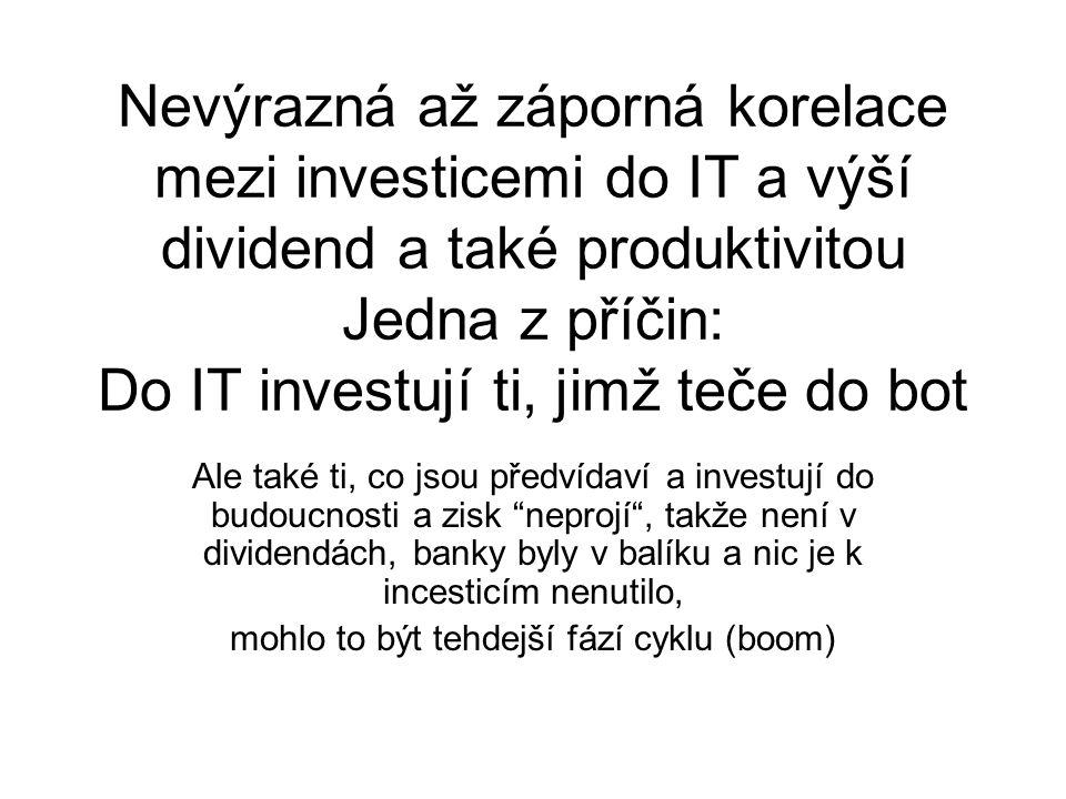 Nevýrazná až záporná korelace mezi investicemi do IT a výší dividend a také produktivitou Jedna z příčin: Do IT investují ti, jimž teče do bot Ale tak