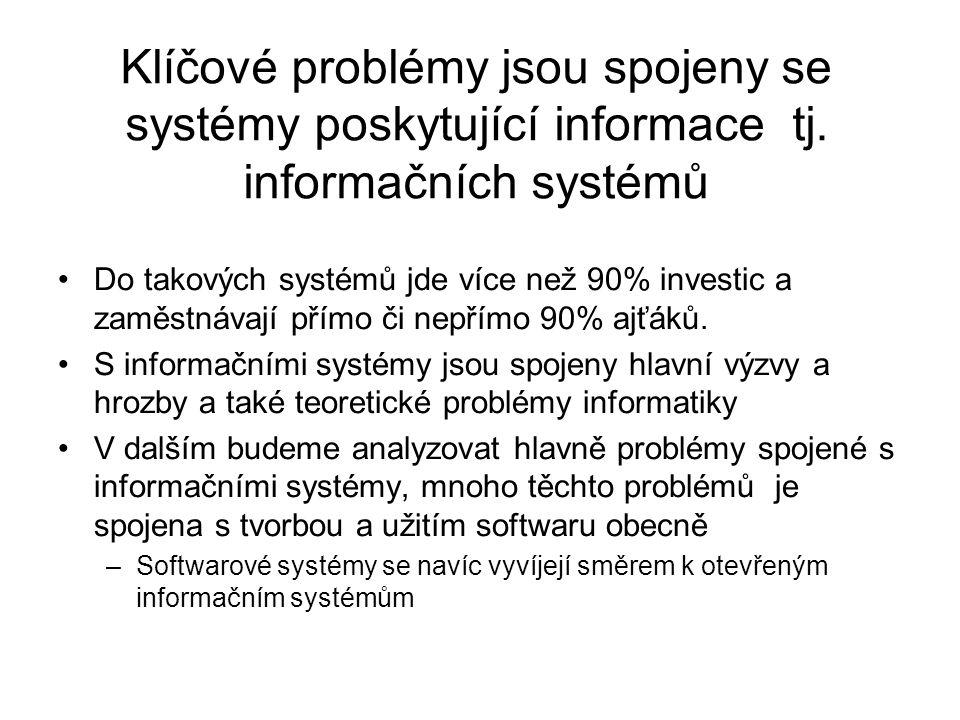 Klíčové problémy jsou spojeny se systémy poskytující informace tj. informačních systémů Do takových systémů jde více než 90% investic a zaměstnávají p