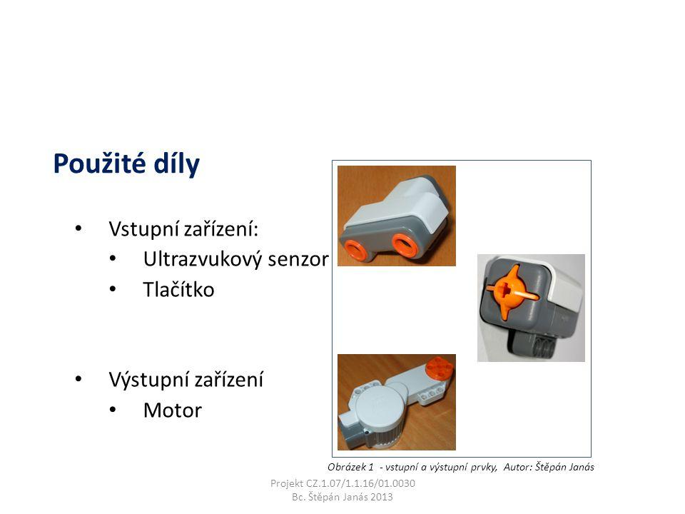 Vstupní zařízení: Ultrazvukový senzor Tlačítko Výstupní zařízení Motor Projekt CZ.1.07/1.1.16/01.0030 Bc.