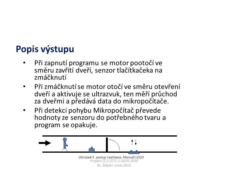 Při zapnutí programu se motor pootočí ve směru zavřití dveří, senzor tlačítkačeka na zmáčknutí Při zmáčknutí se motor otočí ve směru otevření dveří a aktivuje se ultrazvuk, ten měří průchod za dveřmi a předává data do mikropočítače.