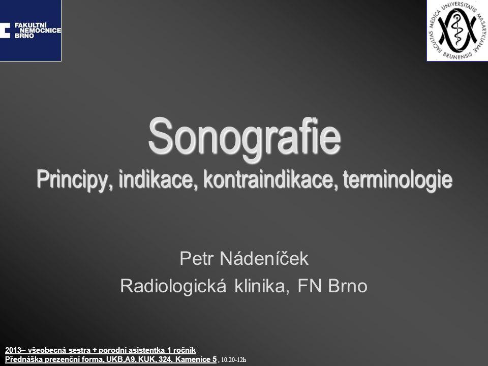 Sonografie Principy, indikace, kontraindikace, terminologie Petr Nádeníček Radiologická klinika, FN Brno 2013– všeobecná sestra + porodní asistentka 1
