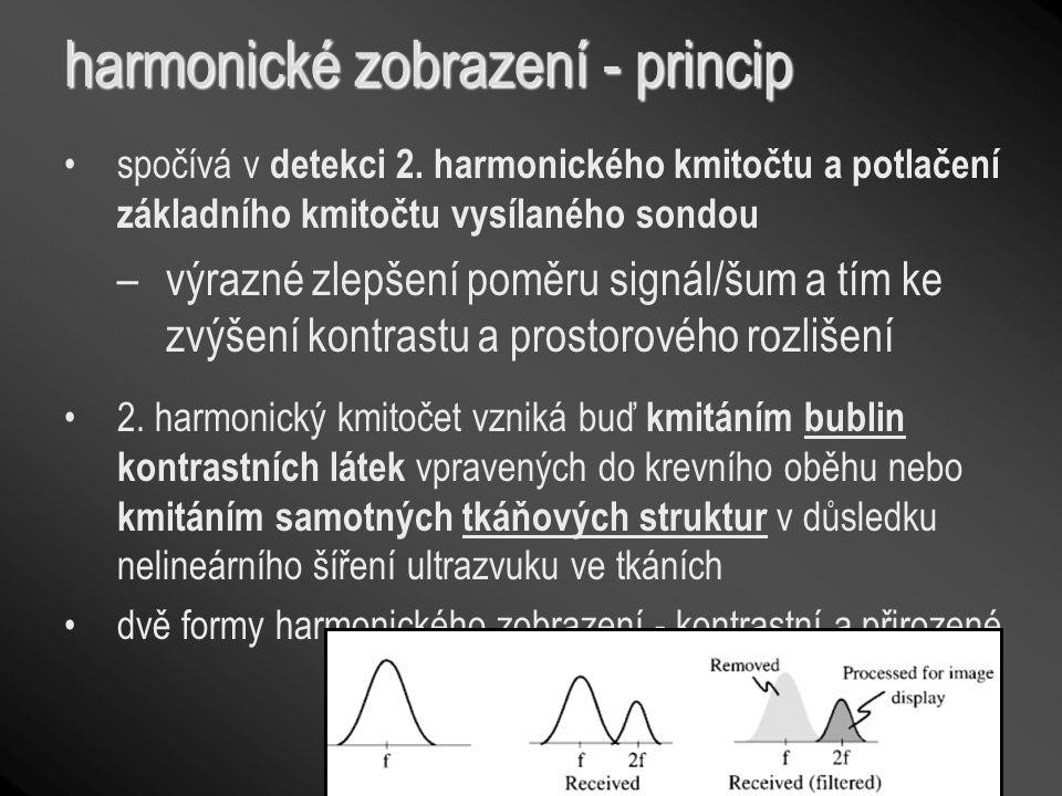 harmonické zobrazení - princip spočívá v detekci 2. harmonického kmitočtu a potlačení základního kmitočtu vysílaného sondou –výrazné zlepšení poměru s